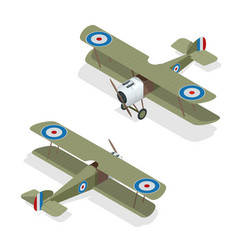 isometric small airplane or old biplane vector image