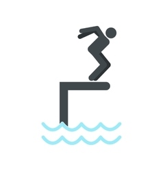 Jumping in a pool icon vector