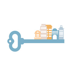 Key to city buildings and homes urban clue vector