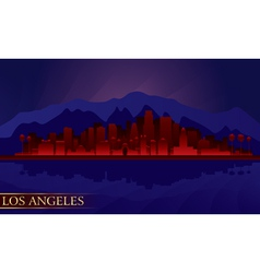 Los Angeles night city skyline detailed silhouette vector image