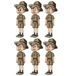 Man in safari outfit with different emotions vector