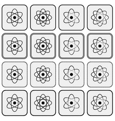 Monochrome planetary atom model science icon set vector