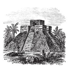 Palenque Pyramid vintage engraving vector image vector image