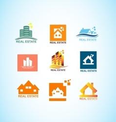 Real estate house logo icon set vector