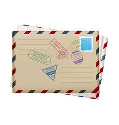 realistic mail envelopes with stamps travel vector image