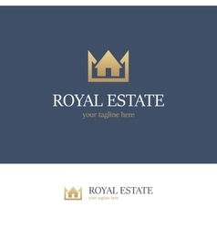 Royal estate logo on blue background vector image vector image