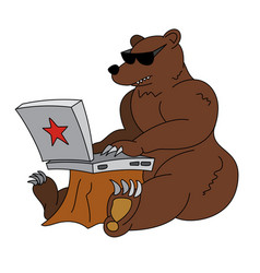 Russian hacker - angry brown bear with laptop vector