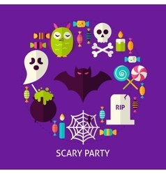 Scary Party Flat Concept vector image vector image