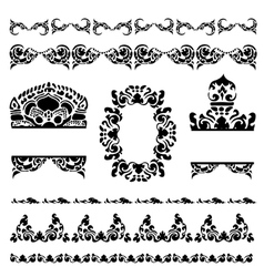 set of cambodian floral pattern vector image