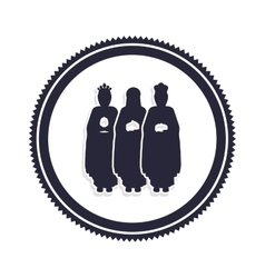 Silhouette border with the three wise men vector