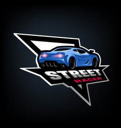 street racer symbol emblem vector image