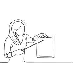 Teacher with pointer and table sheet vector