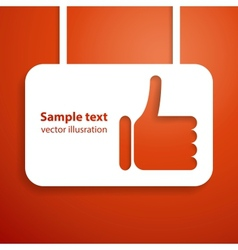 Thumb up hand sign applique background for your vector image vector image