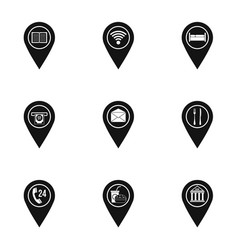 travel pins icon set simple style vector image vector image