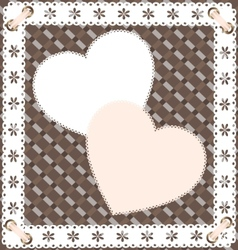 two heart-lace vector image