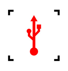 Usb sign red icon inside vector