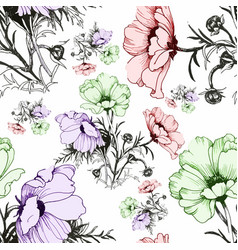 watercolor seamless pattern with colorful flowers vector image