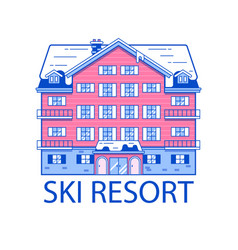 winter ski resort line vector image vector image