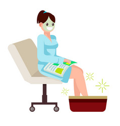 Woman at spa salon sits with a magazine vector