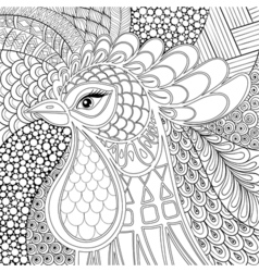 Zentangle rooster symbol 2017 new year hand drawn vector