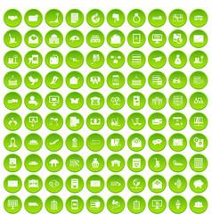 100 postal service icons set green circle vector