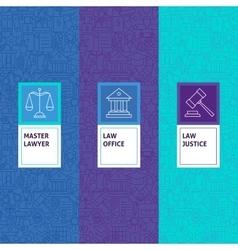 Line Law Justice Patterns Set vector image