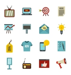 Advertisement icons set flat style vector