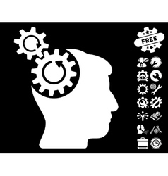 Head cogs rotation icon with tools bonus vector