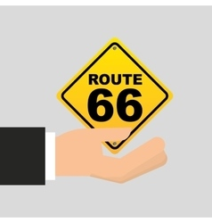 road sign route 66 icon vector image