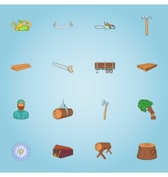 Felling of trees icons set cartoon style vector image