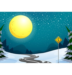 A long winding road under the bright full moon vector