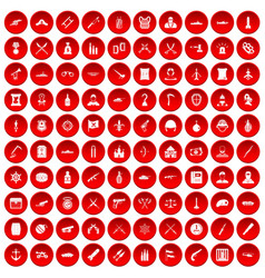 100 weapons icons set red vector