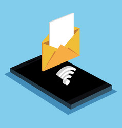 Smartphone email message wifi internet vector