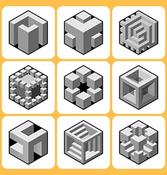 cube icon set 7 vector image