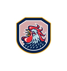 Rooster cockerel crowing shield retro vector