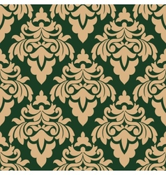Green and beige seamless floral pattern vector image