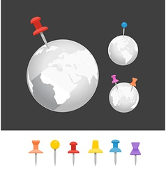 Abstract earth with color pin collection vector