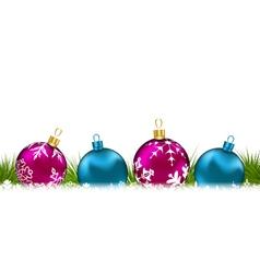 Christmas invitation with colorful glass balls - vector image
