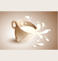 Milk cup splashing vector