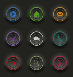 Colored set dark round buttons for web template vector