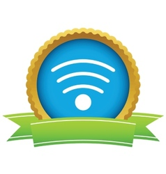 Gold wi-fi logo vector