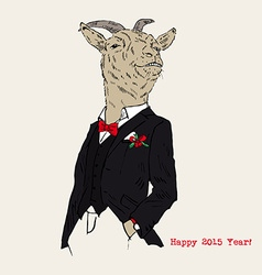 Hand drawn of dressed up goat chic style new year vector