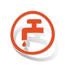 Water tap sign sticker orange vector