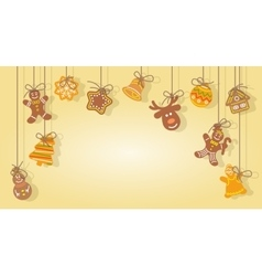 Christmas gingerbread cookies hanging on the ropes vector