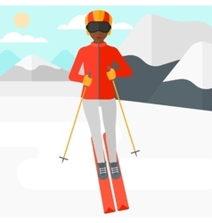 Young woman skiing vector