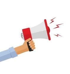 Casual hand holding bullhorn vector