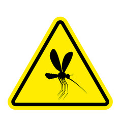 attention mosquito midge in yellow triangle vector image