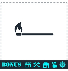 Burning match icon flat vector