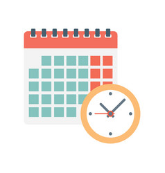 calendar and clock icon vector image