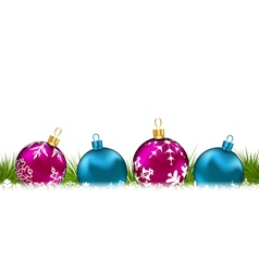 Christmas invitation with colorful glass balls - vector image